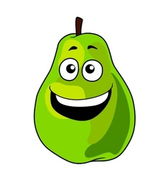 Fresh happy laughing green cartoon pear fruit vector image