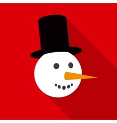 Fun Snowman Face in Flat Style with Long Shadows vector image