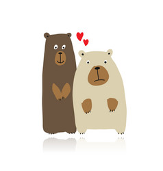 funny bears family sketch for your design vector image