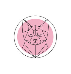 Geometric animal cat head vector