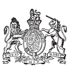 great britain coat of arms have lion and unicorn vector image