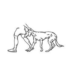 Hand drawn human dragging persian vector