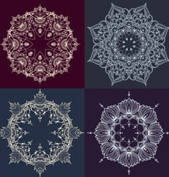 Hand-drawn lotus in east style circular pattern vector image