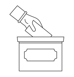 Hand put election box icon outline style vector