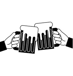 hands holding beer mug foam vector image