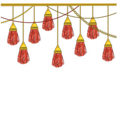 Hanging down heavy silk tassels with gold fittings vector