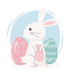 Happy easter cute rabbit looking side with eggs vector