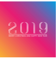 Happy new year number 2019 greeting card mockup vector
