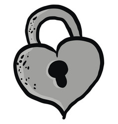 heart shaped lock on white background vector image