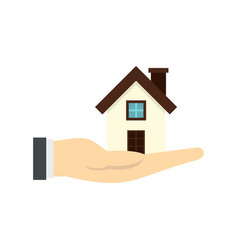 House in hand icon flat style vector