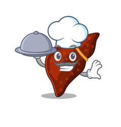 Human cirrhosis liver chef cartoon character vector