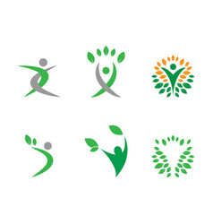 Humanoid and leafs in circle logo concept vector