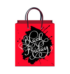 inscription black friday on the package sale and vector image