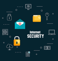 internet security set icons vector image