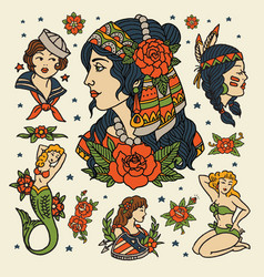 isolated flash classic women tattoo vector image