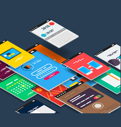 Isometric mobile app ui design concept vector