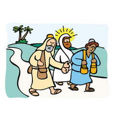 Jesus on the road to emmaus vector