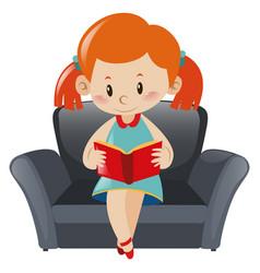 little girl reading book on sofa vector image