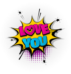 Love you heart comic book text pop art vector