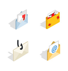 Mail icon set isometric style vector