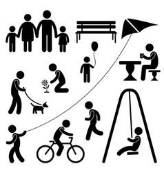 man family children garden park activity symbol vector image