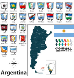 Map of argentina with flags vector