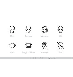 Medical facemask icon set smog dust pm25 vector