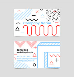 Memphis business card vector
