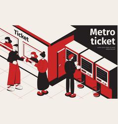 Metro ticket isometric poster vector