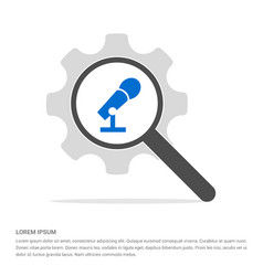 Microphone icon search glass with gear symbol vector