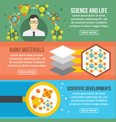 molecule science banner horizontal set flat style vector image