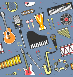 music concert musical instruments seamless pattern vector image