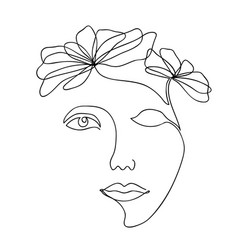 one line drawing abstract beautiful woman with vector image