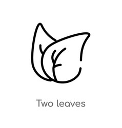 outline two leaves icon isolated black simple vector image