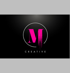 Pink m brush stroke letter logo design pink paint vector