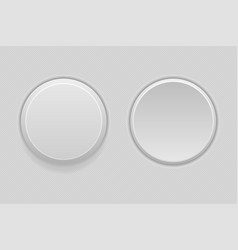 pushed and normal gray round interface buttons vector image
