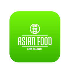 Quality asian food icon green vector