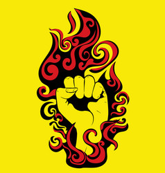 Raised fist in fire vector