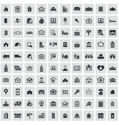 Real estate 100 icons universal set for web and ui vector