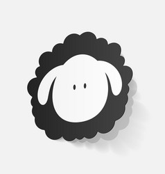 Realistic paper sticker sheep vector