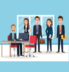 Resources human office company scene with vector