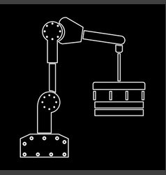 Robotic hand manipulator white color path icon vector