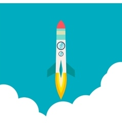 Rocket ship in a flat style vector
