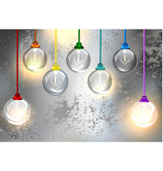 Round light bulbs on a gray background vector