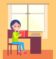 schoolboy sits with open book near window vector image vector image