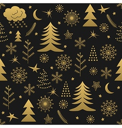 Seamless Christmas pattern gold vector