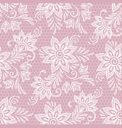 seamless lace floral pattern flowers on pink vector image