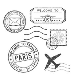 set black stamps postmarks and travel stamps vector image