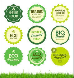 set healthy organic farm fresh product badges vector image