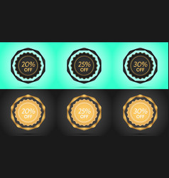set of black and golden sale badges vector image